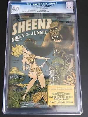 Sheena Queen Of The Jungle #3 (1943) Cgc 4.0 Fiction House Golden Age