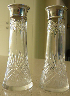 Pair Solid Silver Mounted Cut Glass Bud Vases London 1911 Hart & Sons 16cm tall