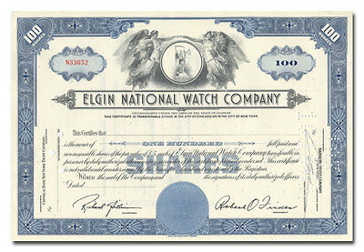 Elgin National Watch Company Stock Certificate