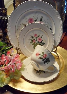 "4 Piece PLACE SETTING-American Limoges China ""CATHY R2 ~Pink Roses~22K Gold"
