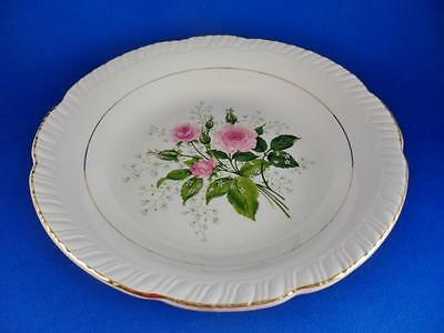 "Coupe Soup Bowl 8""-American Limoges China ""CATHY R2 ~Pink Roses~22K Gold"