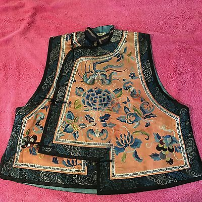 Antique Chinese Embroidered woman vest 19th Qing Dinasty