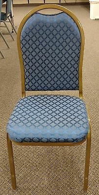 Blue Pattern Fabric, Gold Frame, Stackable Banquet Chairs