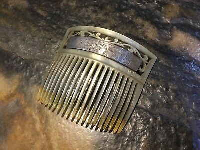 Victorian Peineta Hair Comb With MOP/Celluloid Sterling Silver Accent  Ca 1900's
