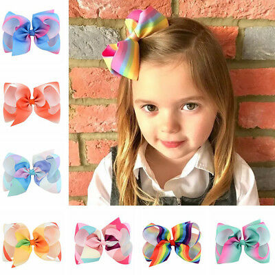 Girl Rainbow Bows Hair Clip large rib Grosgrain Ribbon Bow Hairpin Baby