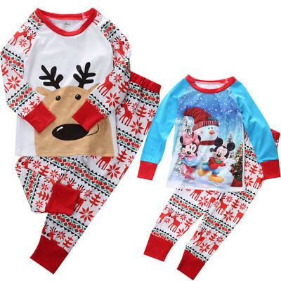 2PCS Xmas Baby Boy Girl Kids Nightwear Pajamas Pjs Sleepwear Outfits Clothes Set