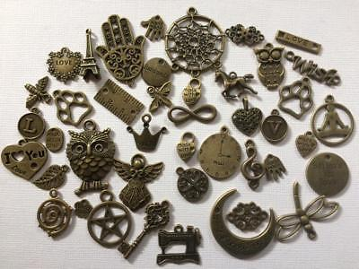 BB METAL CHARMS EMBELLISHMENT mixed pk of 15 ANTIQUE GOLD craft cards