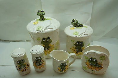 Sears Neil The Frog Vintage 1978 Lot Flour Sugar Canister Napkin Holder S&p