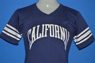 vintage 80s CALIFORNIA BLUE WHITE STRIPED V NECK JERSEY t-shirt YOUTH LARGE YL