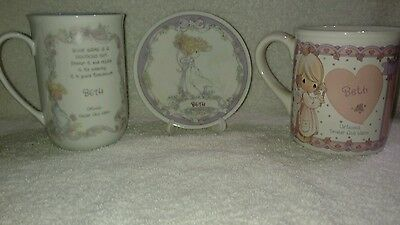 "Precious Moments Personalized ""BETH"" Plate with stand and 2 Mugs Lot of 3."