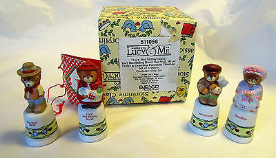 Lucy & Me Red Riding Hood 4 PC Thimble Set Porcelain Figurines