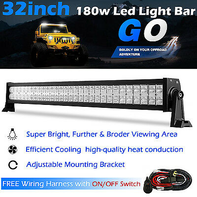 32 Inch 180W LED Light Bar Offroad Work Lamp Spot Flood Combo 4WD SUV Boat Truck