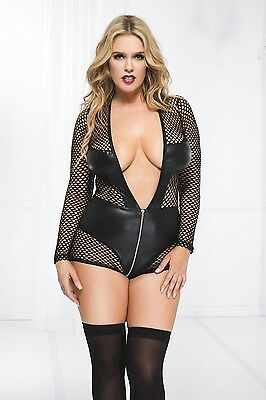 LONG SLEEVE BLACK FISHNET WET LOOK BODYSUIT/CROSSDRESSER/DRAG QUEEN/ PLUS 3x-4x