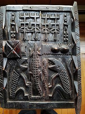 Antique African Dogon Carved Wood Granary Storage Door Mali