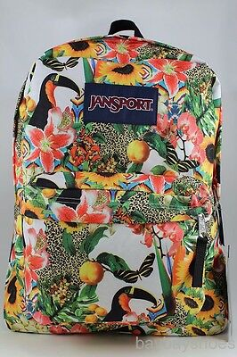 Jansport Superbreak Jungle Jam Floral Leopard Backpack School Book Bag Authentic