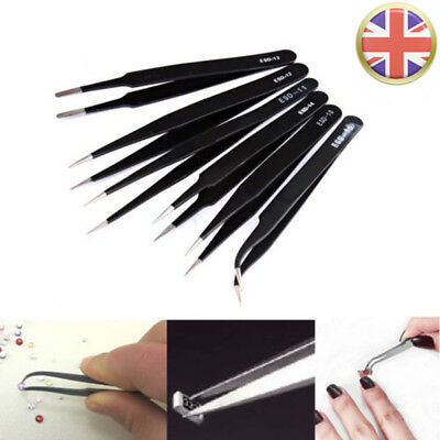 6X Coated Precision Tweezers Set Stainless Steel Non Magnet Airfix UK RLTS