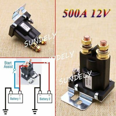 12V 4 Pin 500A AMP Dual Battery Isolator Car Relay Starter On/Off Power Switch