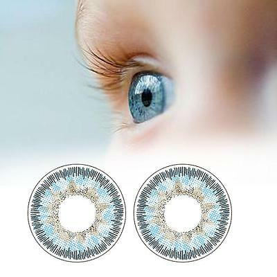 1 Pair Contact Lenses Color Soft Big Eye UV Protection Cosmetic Lens Blue FD