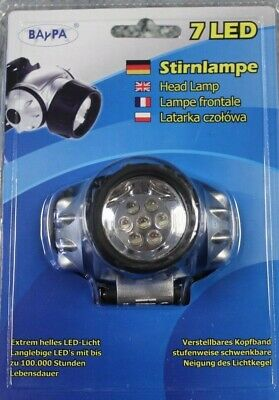 BAYPA Stirnlampe 7 LED Kopflampe Licht 4x einstellbar 1 LED 3 LED 7 LED FLASH