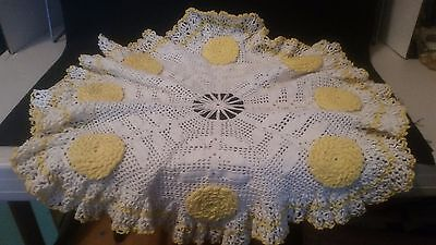 Large Vintage Hand Crocheted Doily - Antique Doilies Hot Cozy