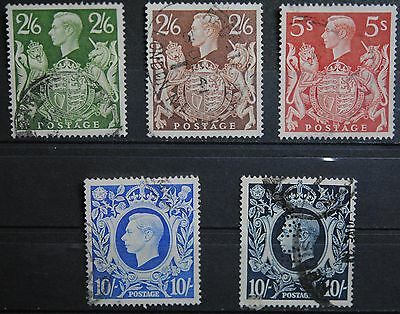 Great Britain SC#249-251A   Used VFGVI  H-Vals Definitives to 10sh (all 5 vals)