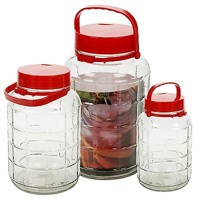 5 8 10 Litre Large Glass Preserve Food Beverage Juice Airtight Container Jar