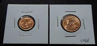 1966 Australian One 1 & Two 2 Cent Coins - Uncirculated from RAM Mint Rolls