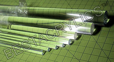 "9 Pc COMBO 1/8"" 3/16"" 1/4"" 5/16 3/8"" 1/2"" 5/8"" 3/4"" 1"" CLEAR ACRYLIC LUCITE ROD"