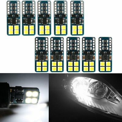 10 x Canbus T10 194 168 W5W 3030 8 LED SMD White Car Side Wedge Light Lamp Bulb