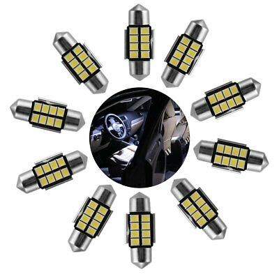 10 X White 31mm 2835 8-SMD LED Festoon Dome Map Interior Car Light Lamp Bulb 12V