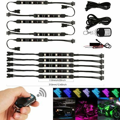 10pc Motorcycle LED Under Glow Light Kit Multi-Color Neon Strip Remote Control