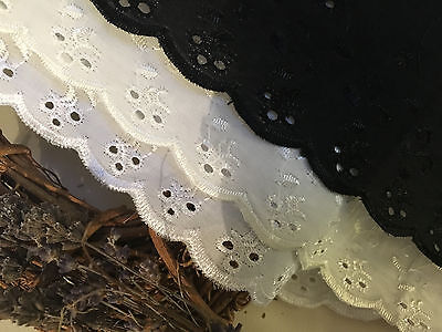"Bows Ribbon and Lace~2""/5cm Cotton Broderie Anglaise Lace Trim. Choice of Colour"