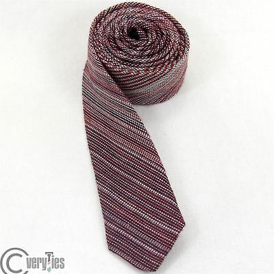 Cravatta Stretta VILOR Bordeaux Righe 100% Seta Made in Italy Skinny Tie