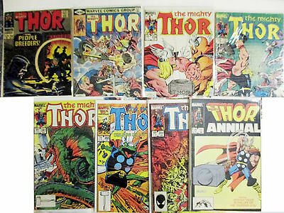 LOT OF 8 Thor 134 296 338 341 344 346 366 Annual 11  (1966-1986) Way Below Guide