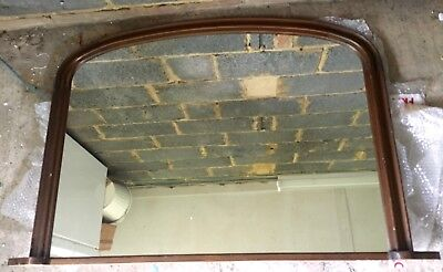 Vintage Over Mantel Wooden Oak Mirror