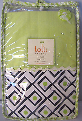 Lolli Living. Crib Skirt Baby Nursery Phinley Charcoal Lime Triangle