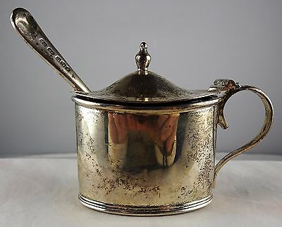 #14 Antique English Sterling Mustard Pot Cobalt Liner Spoon Mappin Webb Rodgers