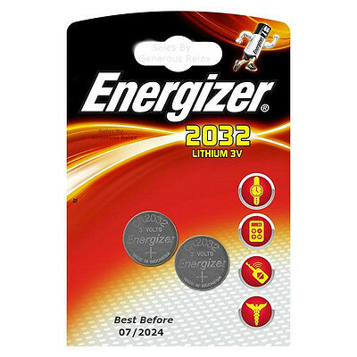 2 X Energizer Lithium CR2032 batteries 3V Coin cell DL2032 Long Expire Date 2024