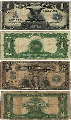 Vtg 1899 $1 $2 Lg Size U. S. Silver Certificates 2 pcs 1899 SERIES Circulated