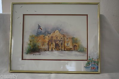 Framed and Matted Watercolor/Mixed Media 'The Alamo' by Jan Lenneville Signed