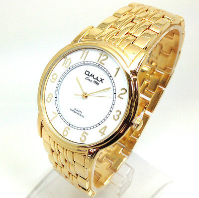 506R Men's Celebrity Style Wrist Watch Gold Metal Band White Vintage Round Dial