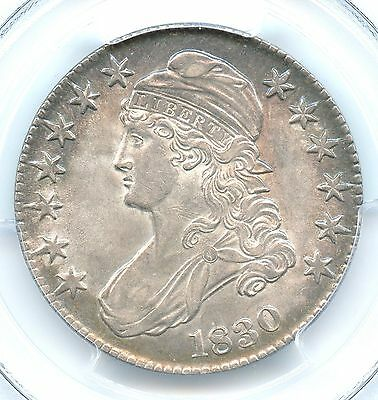 1830 Small O, Capped Bust Half Dollar, PCGS AU 58, Attractive Toning!