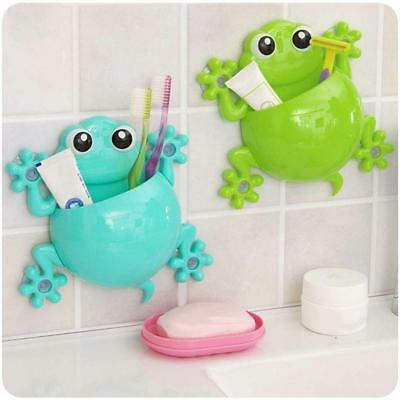 1x Animal Frog Silicone Toothbrush Holder Family Wall Bathroom Hanger Suction 6A
