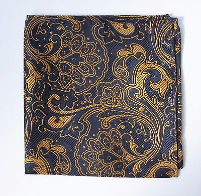 Hankie Pocket Square Handkerchief Dark Blue & Metallic Gold Floral
