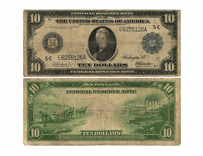 1914 $10 Lg Size Federal Reserve Note RICHMOND 5-E Blue Seal FR# 920-E VG/F
