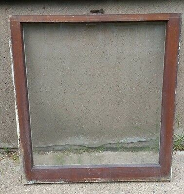 VINTAGE WOOD WINDOW FRAME LOWER SASH SINGLE PANE GLASS  28.125 W in 30.375 H in