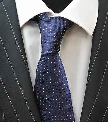 Tie Neck tie with Handkerchief Navy Blue with White Pin Spot