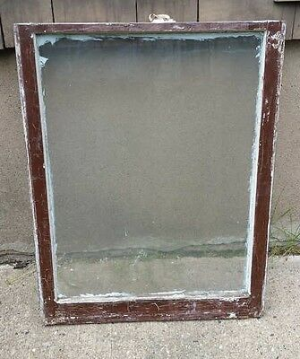 VINTAGE WOOD WINDOW FRAME LOWER SASH SINGLE PANE GLASS  28.5 W in 35 H in