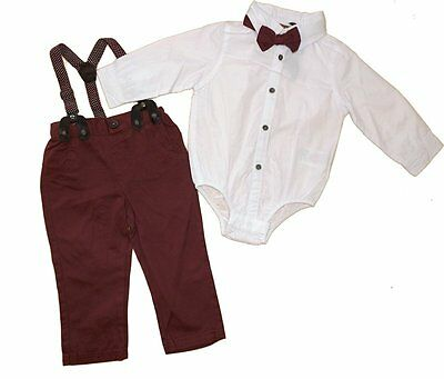 Baby Boys Smart Bodysuit Shirt Bow Tie & Braces Trousers Outfit by Little Gent