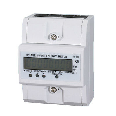 Digital LCD 5(80)A 3x230V/400V Energy Meter 3-Phase 4-Wire DIN Rail Power